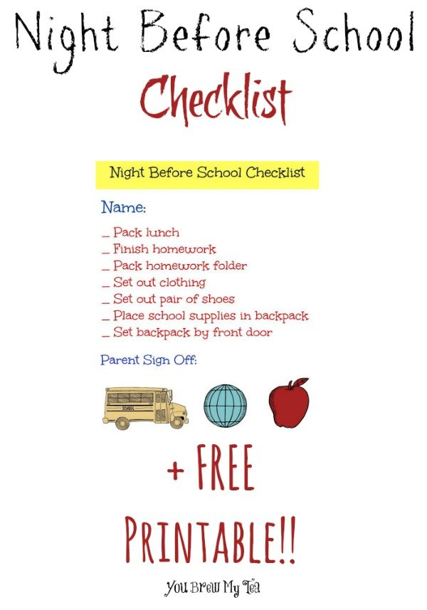 Night Before School Checklist