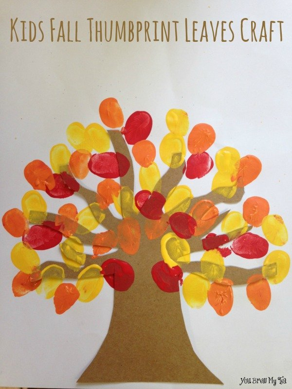 Kids fall thumbprint leaves craft for Simple fall crafts for kids