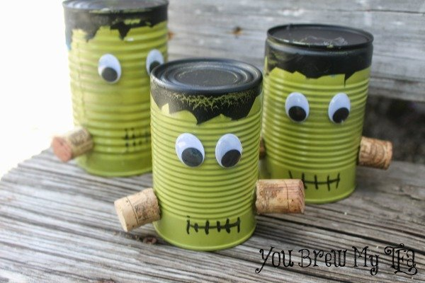 Frankenstein Upcycled Tin Cans