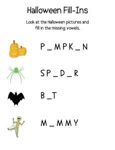Halloween Fill In The Blank Vowel Review