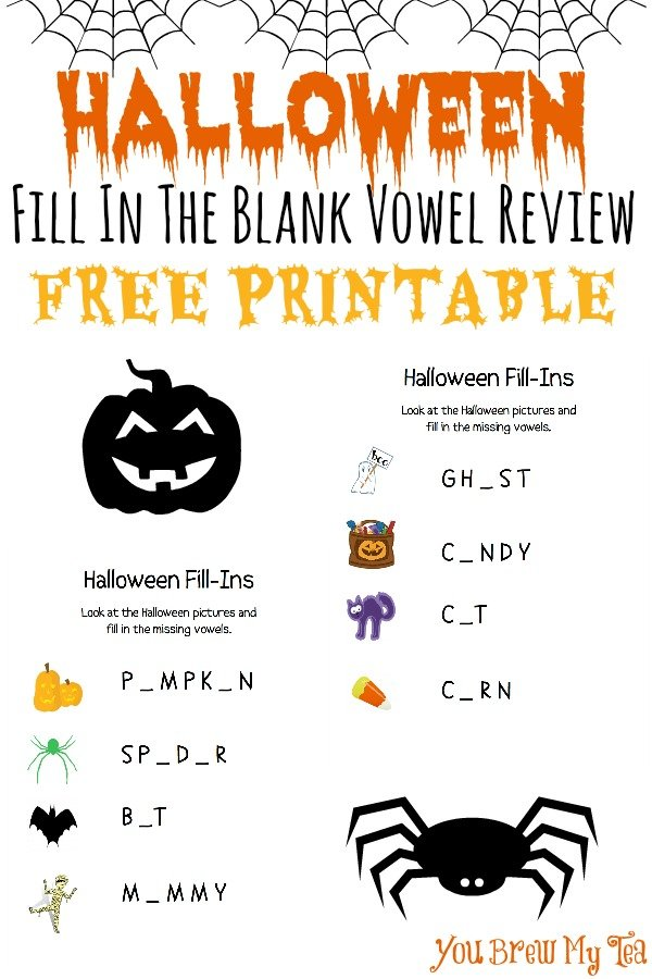 photo regarding Words for the Wee Hours Free Printable called Halloween Fill Within just The Blank Vowel Assessment Absolutely free Printable