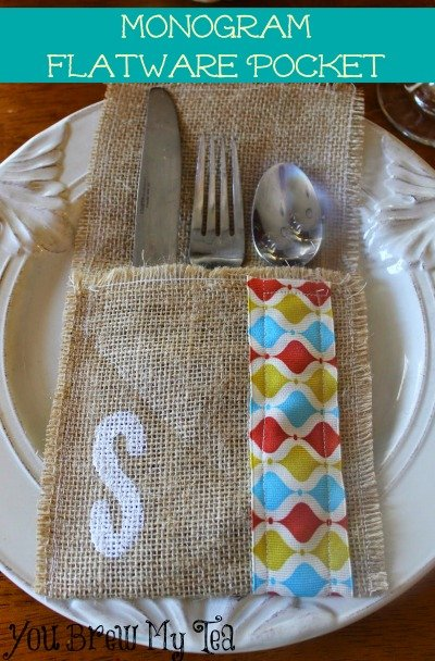 Monogram Burlap Flatware Pocket