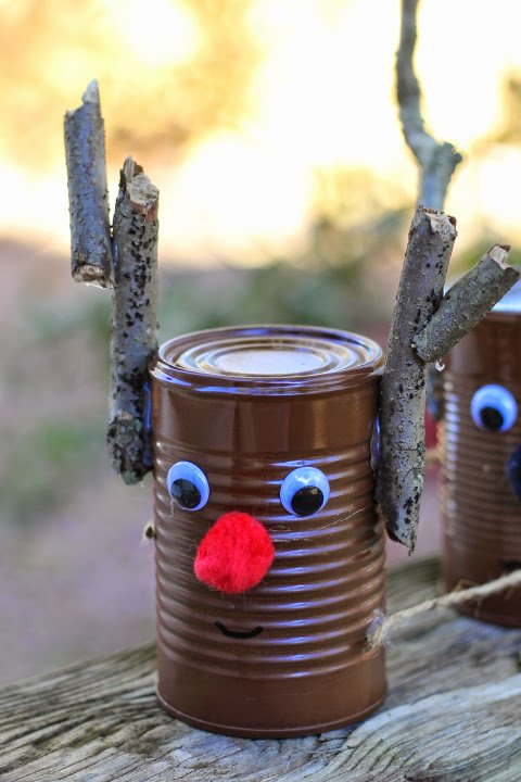 Upcycled Tin Can Reindeer