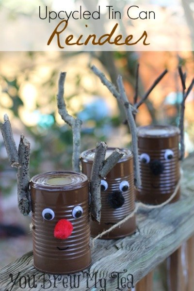 Upcycled tin can reindeer for Christmas crafts out of tin cans