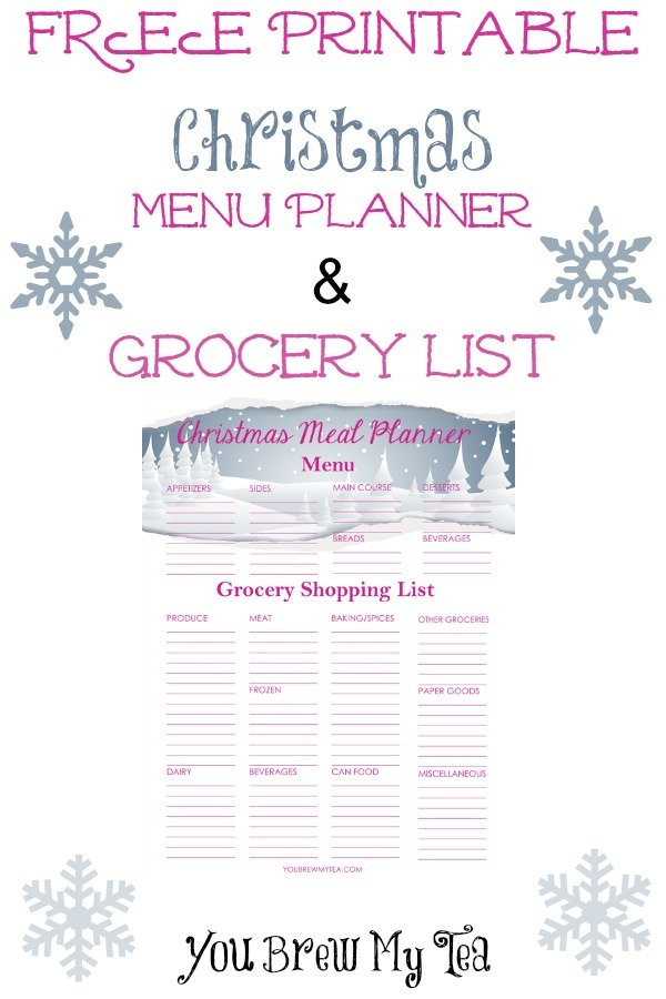 Free Printable Christmas Menu Planner U0026 Grocery List  Free Printable Christmas Lists