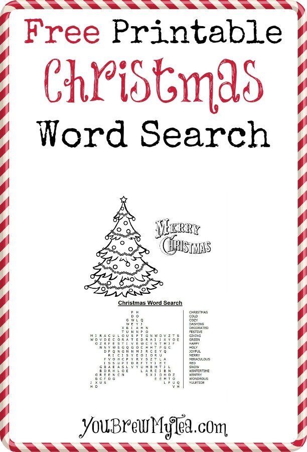 Free Printable Christmas Word Search You Brew My Tea