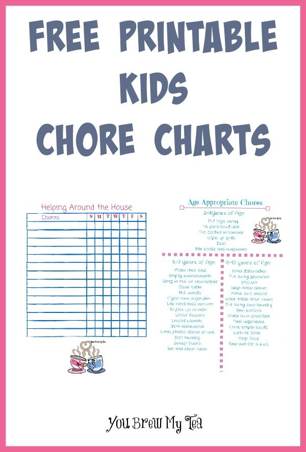 image about Free Printable Kids Chore Chart known as No cost Printable Small children Chore Charts - By yourself Brew My Tea