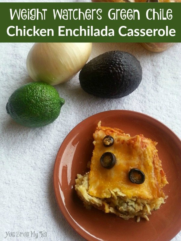 This Weight Watchers Green Chile Chicken Enchilada Casserole Is only 5 points and a hearty delicious meal!