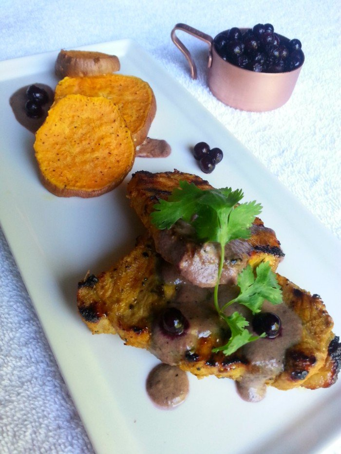 Grilled Pork Loin With Savory Wild Blueberry Sauce