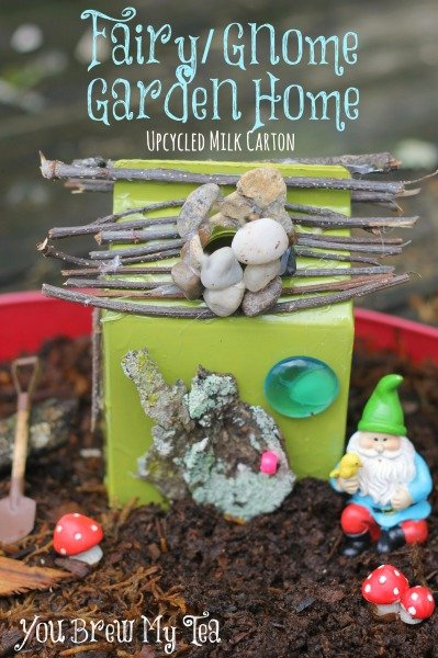 Make this simple Fairy Garden Home or Gnome House using an upcycled milk carton!  This is a great addition to your garden this year!