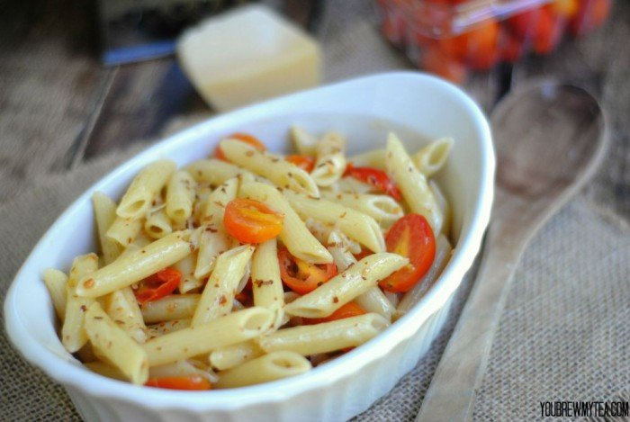 Penne Pasta With Parmesan, Garlic and Red Peppers