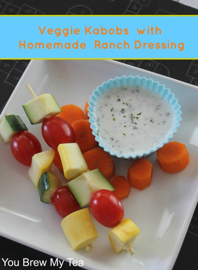 Homemade Healthy Ranch Dressing with Veggie Kabobs