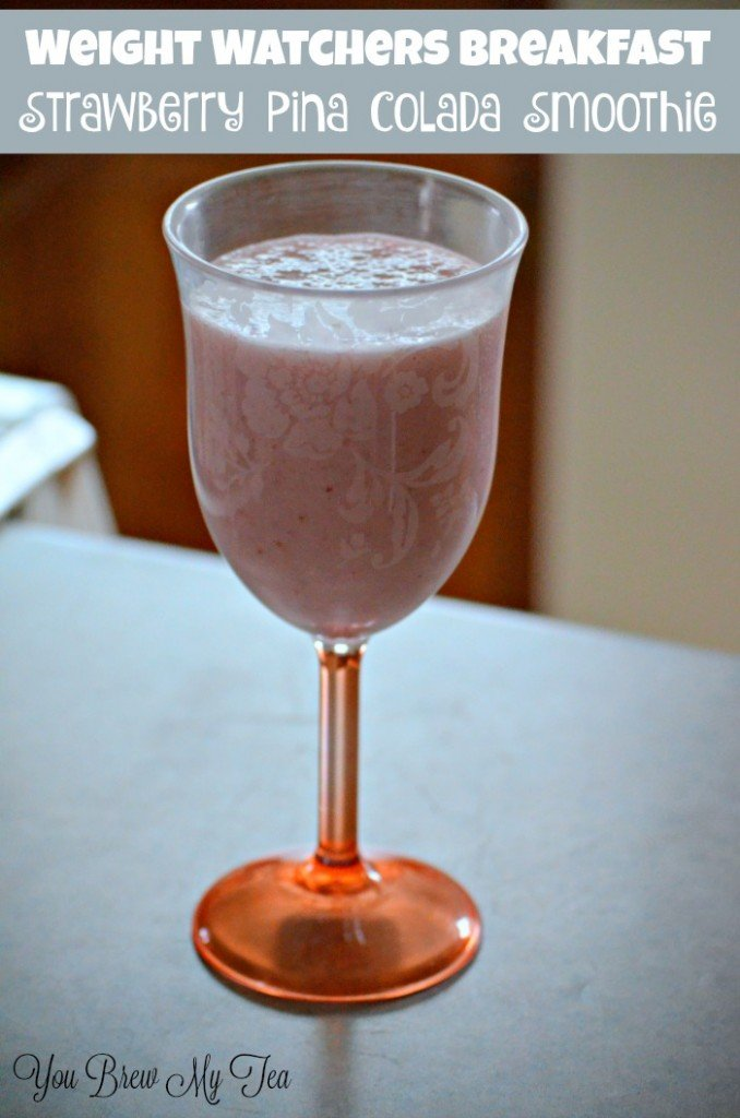 Don't miss this delicious Weight Watchers Breakfast! Strawberry Pina Colada smoothie is just what you need to start the day!