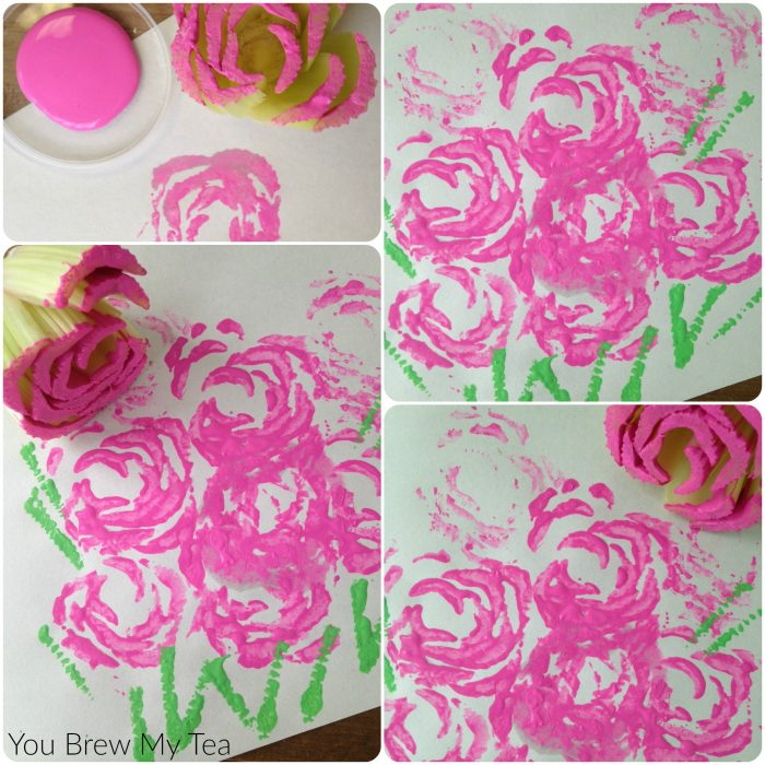 Make your own stamp by using a celery stalk! This great Celery Rose Stamp is an ideal kids activity or a fun and cheap way to add a unique print to your home decor!