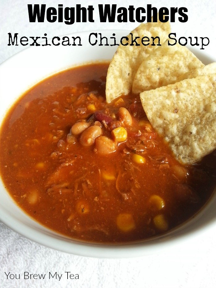 Weight Watchers Soup doesn't have to be boring! Make our Crockpot Mexican Chicken Soup for only 6 1/2 Smart Points per serving!
