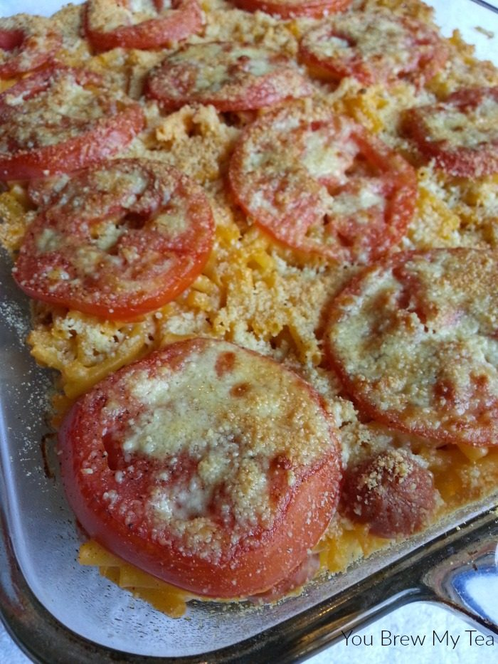 Baked Mac 'n Cheese is a classic, but adding in this kid-friendly twist of hot dogs, tomatoes and a bit of extra cheese on top turns it into a meal everyone will love - including mom!