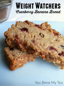 Cranberry Banana Bread is a favorite sweet bread that is ideal for breakfasts or snacks! This Weigh Watchers Recipe with only 4 Smart Points per serving, is a great choice to make in large batches and freeze for easy breakfast on the go!