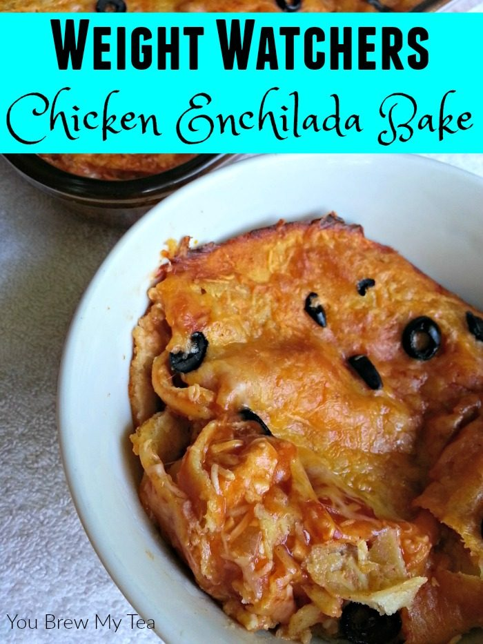 Make this Enchilada Bake that is super easy and delicious with only 6 SmartPoints on Weight Watchers! A perfect slow cooker or freezer meal for busy moms on the go!