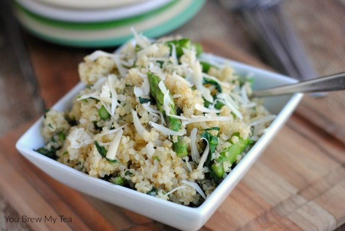 Make our Quinoa Side Dish featuring Asparagus and Spinach for a hearty low carbohydrate option for your meal plan!