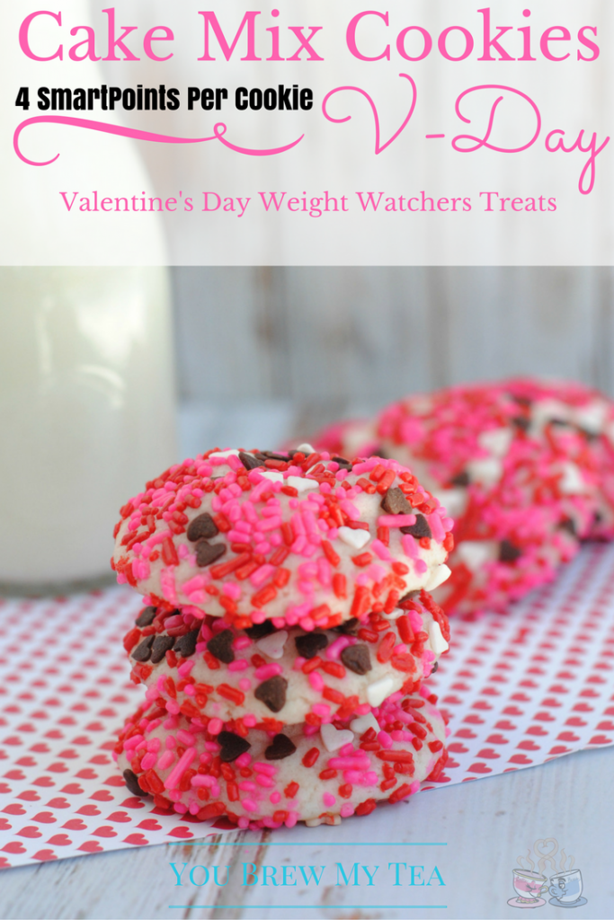 Cake Mix Cookies are the ideal treat for Weight Watchers Valentine's Day Cake Mix Cookies! I love how easy these are to make at only 4 SmartPoints each!