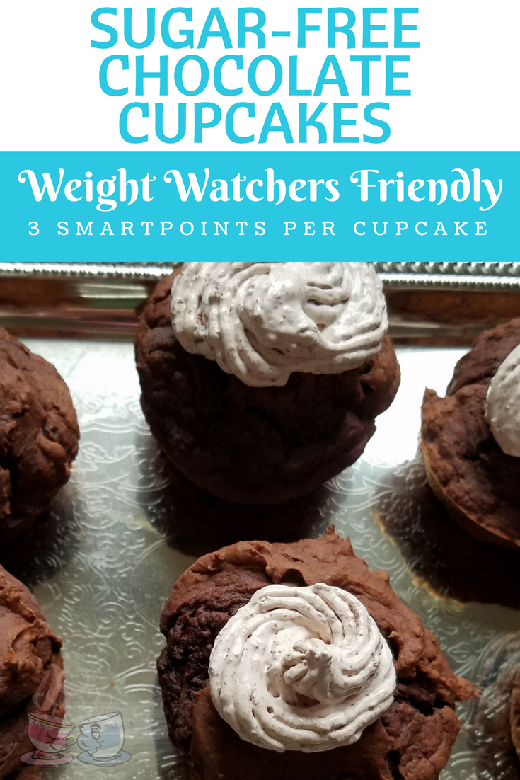Sugar-Free Chocolate Cupcakes are easier than ever to make with this fast recipe!  Only 3 SmartPoints Per Cupcake on Weight Watchers - icing included!