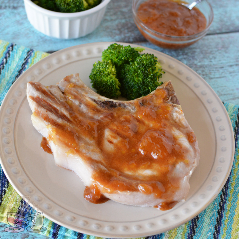 Grilled Pork Chops with Cinnamon Peach Marinade are going to be a new family favorite! Only 6 SmartPoints per pork chop and so easy to prepare!