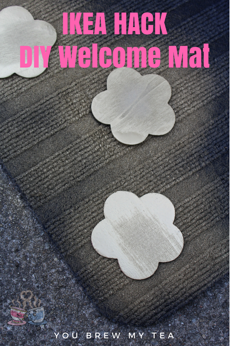 DIY Welcome Mat IKEA Hack is a great inexpensive idea for making your entryway look even better on a budget! Our tutorial is easy to follow and under $5!
