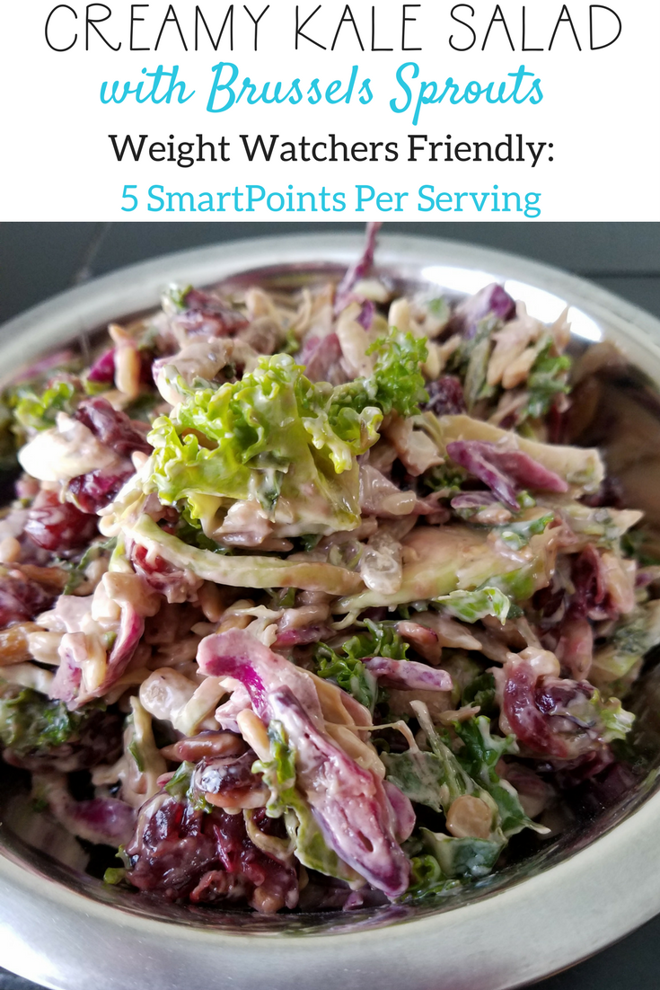 Creamy Kale Salad with Brussels Sprouts is a delicious option for Weight Watchers! Only 5 SmartPoints per serving and full of vitamins!