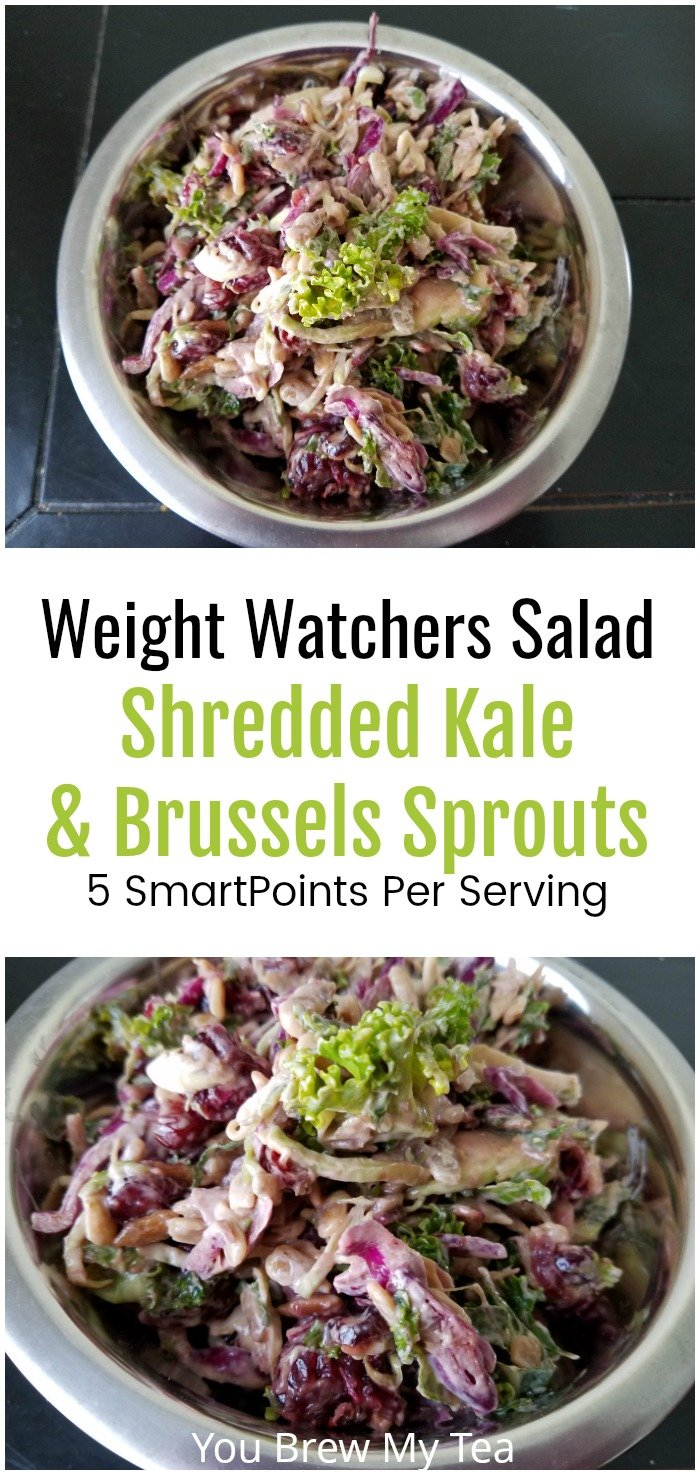 Creamy Kale Salad with Brussels Sprouts is a delicious option for Weight Watchers! Only 5 SmartPoints per serving and full of vitamins! | Weight Watchers Salad | Weight Watchers Recipes | SmartPoints Recipes | Kale Salad | Brussels Sprouts Recipes