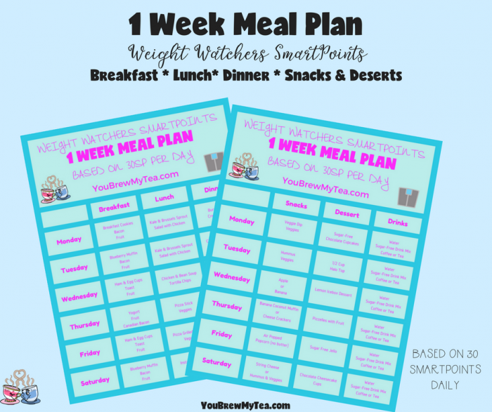 Grab our handy Printable Weight Watchers SmartPoints Meal Plan! This 1 Week Meal Plan includes 3 meals per day, snacks, desserts, and product guidelines!