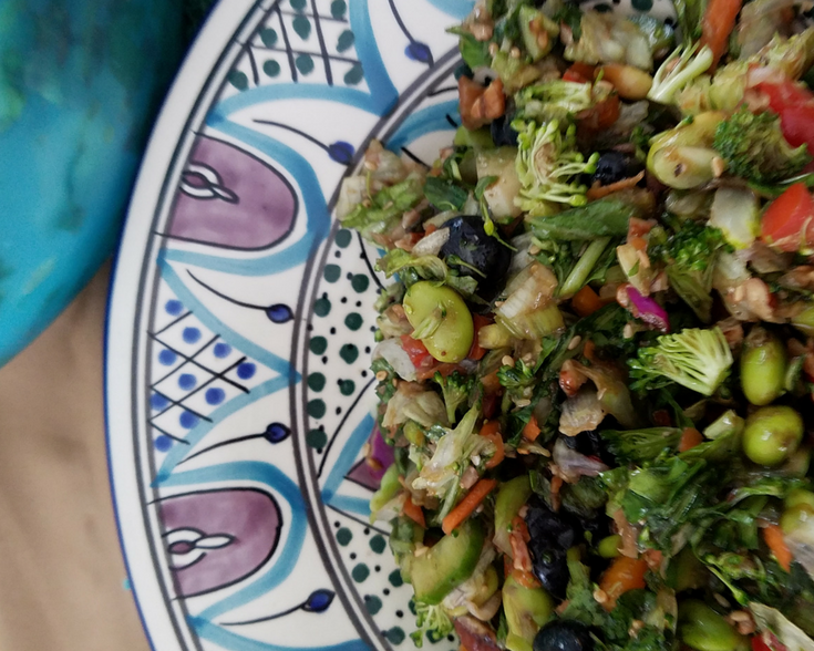 An Easy Chopped Salad is a great way to get more veggies into your menu when paired alongside a fast and easy meal like chicken pot pies or your favorite casserole!