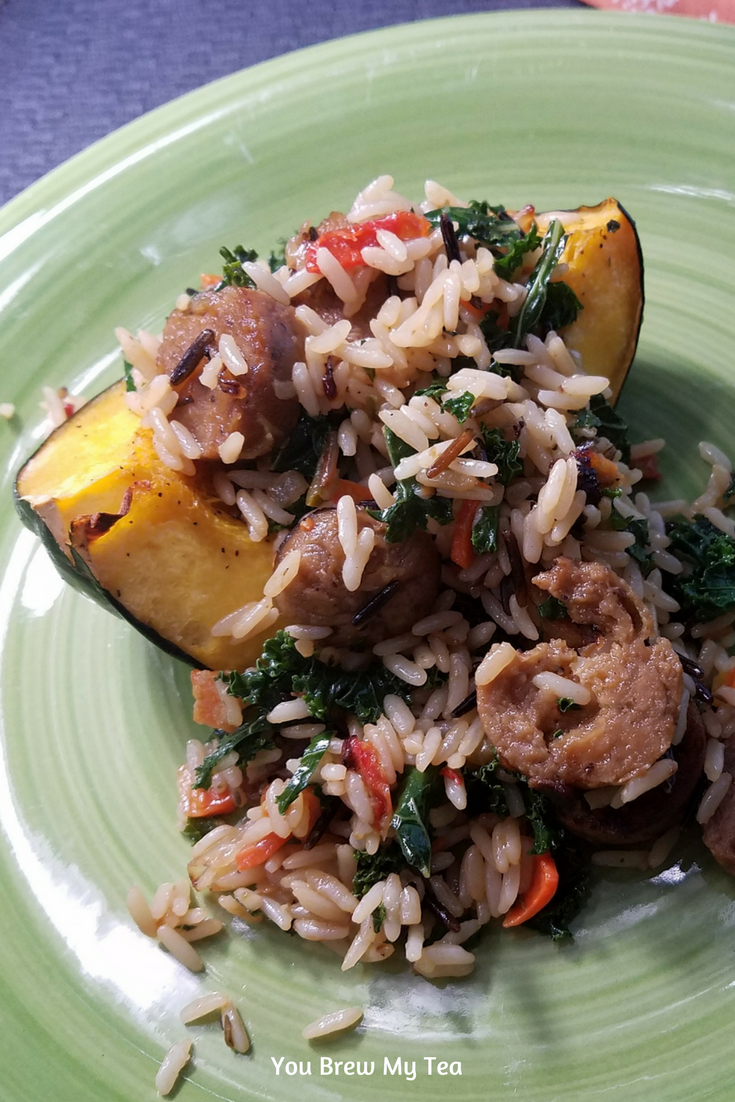 Vegan Stuffed Acorn Squash is a great option using wild rice and Field Roast Vegan Sausages! A great Thanksgiving dinner recipe for vegan families to enjoy!