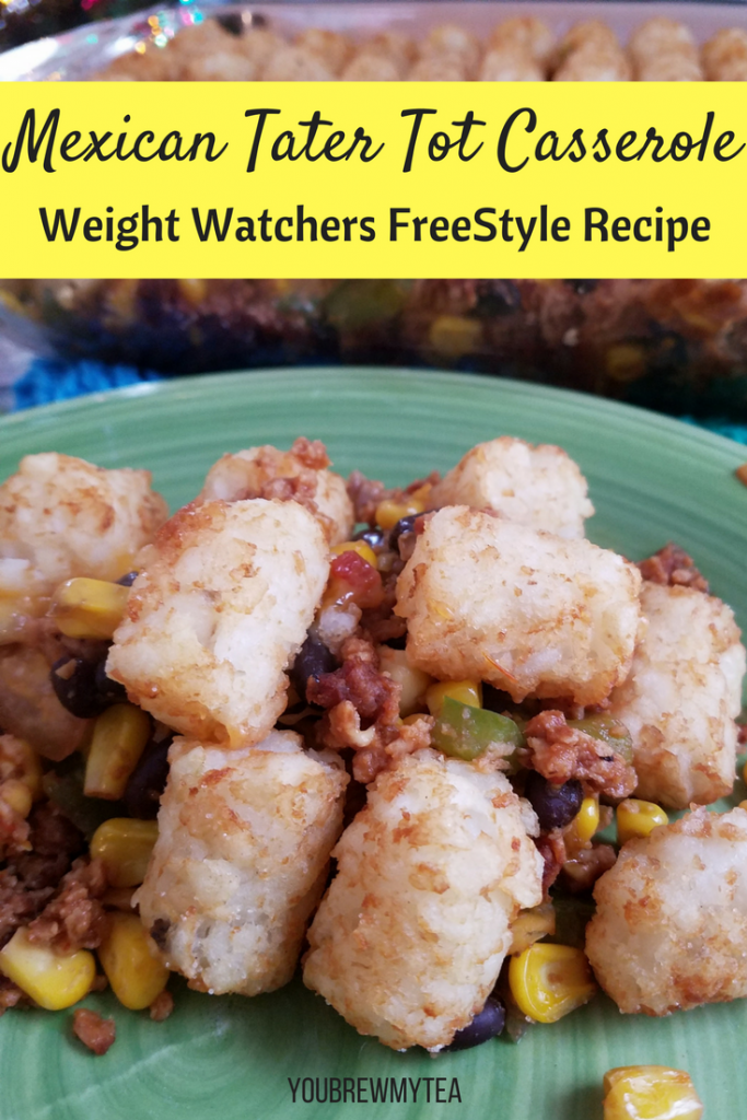 Make this Mexican Tater Tot Casserole as a great Weight Watchers FreeStyle recipe that will please the entire family! A perfect option for weeknight dinners that kids will love and only 6 SmartPoints on Weight Watchers FreeStyle!