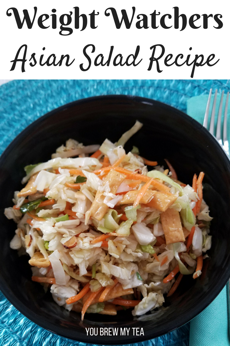 Make this Asian Salad Recipe in minutes! So delicious with a homemade sesame ginger dressing that tops this salad perfectly! Low point FreeStyle Weight Watchers Recipe!!!