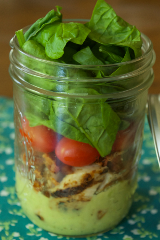 Make our Easy Avocado Sauce and Salad Dressing and build a delightful and healthy mason jar salad for only 2 Weight Watchers FreeStyle Smart Points!