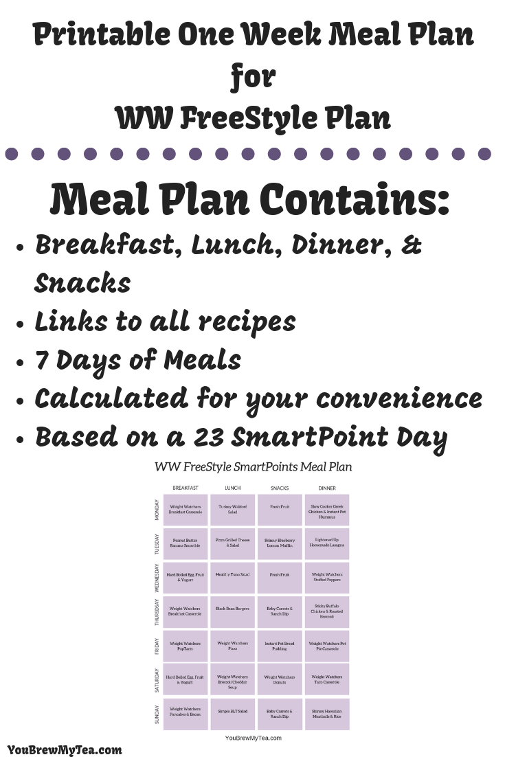 Snag your Printable Weight Watchers FreeStyle SmartPoints Meal Plan! This one week printable menu for those on the WW FreeStyle SmartPoints plan is a great way to stay on track easily!