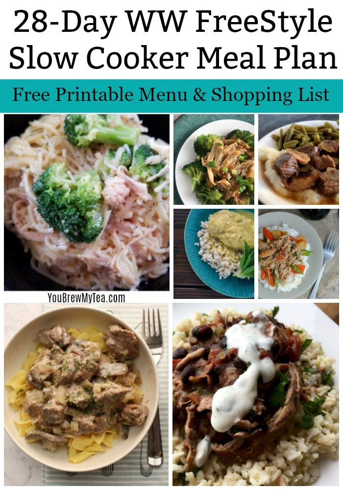Check out this One Month Meal Plan Printable for WW FreeStyle Recipes! A great Slow Cooker Meal Plan that is easy to print, use, and enjoy while staying in point on the WW FreeStyle Plan!