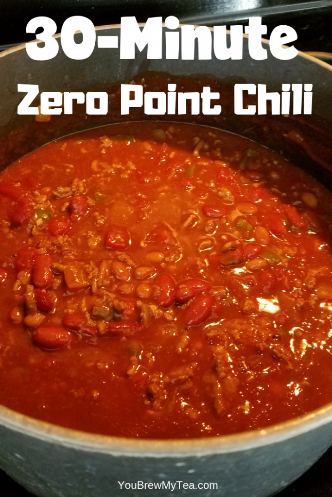 Zero Point Simple Chili Recipe simmering on a cook top waiting to be served for dinner.