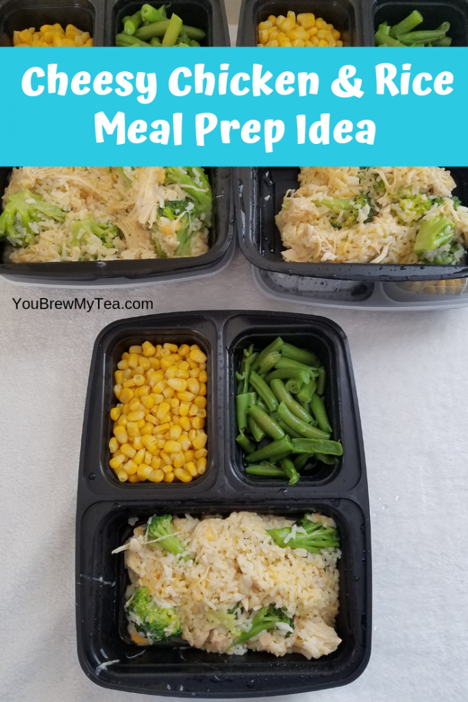 Cheesy chicken and rice meal prep idea prepared and stacked in 3 compartment meal prep containers while laying on a white surface.