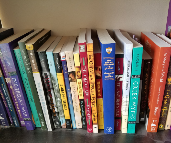 Bookshelf featuring several history books and fiction books from the BookShark Levl 6 curriculum kit
