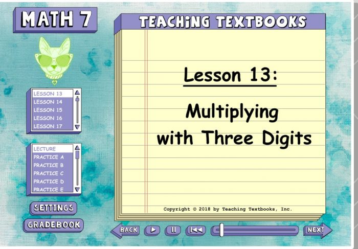 Check out this great screenshot of Teaching Textbooks 3.0 Math Level 7 lesson 7 for how it appears to your student