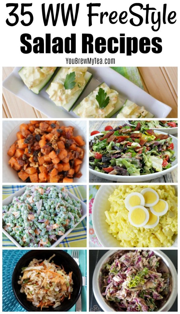 Picture collage of ww freestyle salad recipes