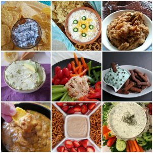large photo collage of ww freestyle dip recipes