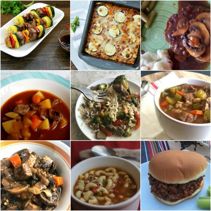 collage image of beef recipes for ww freestyle plan